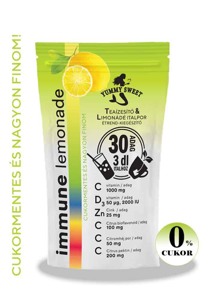 Immune Lemonade, c-vitamin. d-vitamin, cink, citrus bioflavonoid tartalmú immunerősítő teaízesítő és limonádé italpor