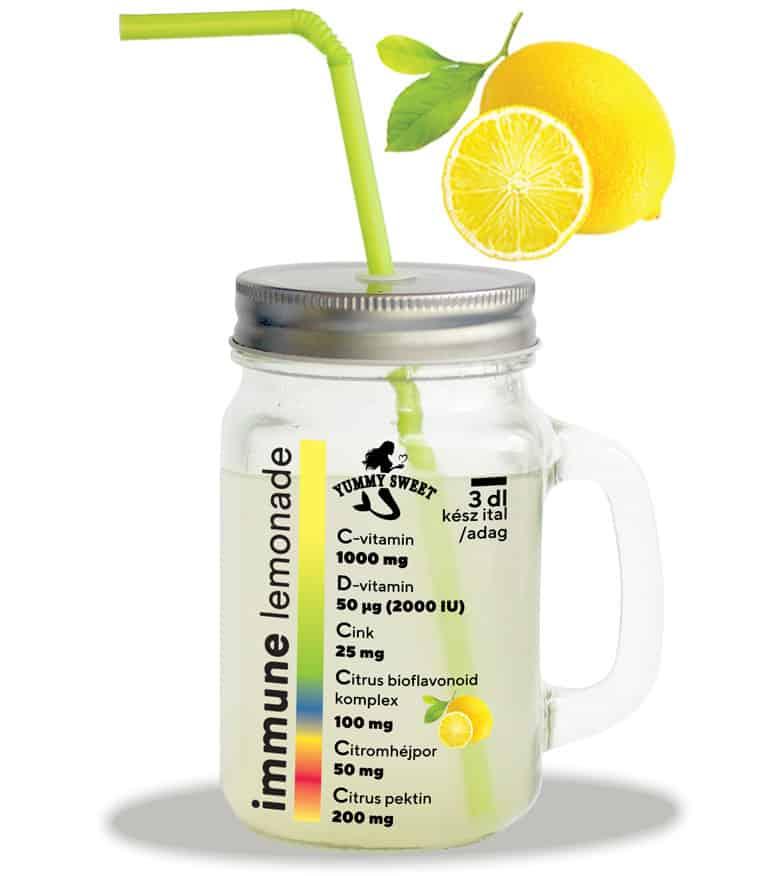Immune Lemonade - C-vitamin, D-vitamin, cink, citrus bioflavonoid tartalmú teaizesítő, limonádé italpor – limonádé, vagy tea készíthető vele