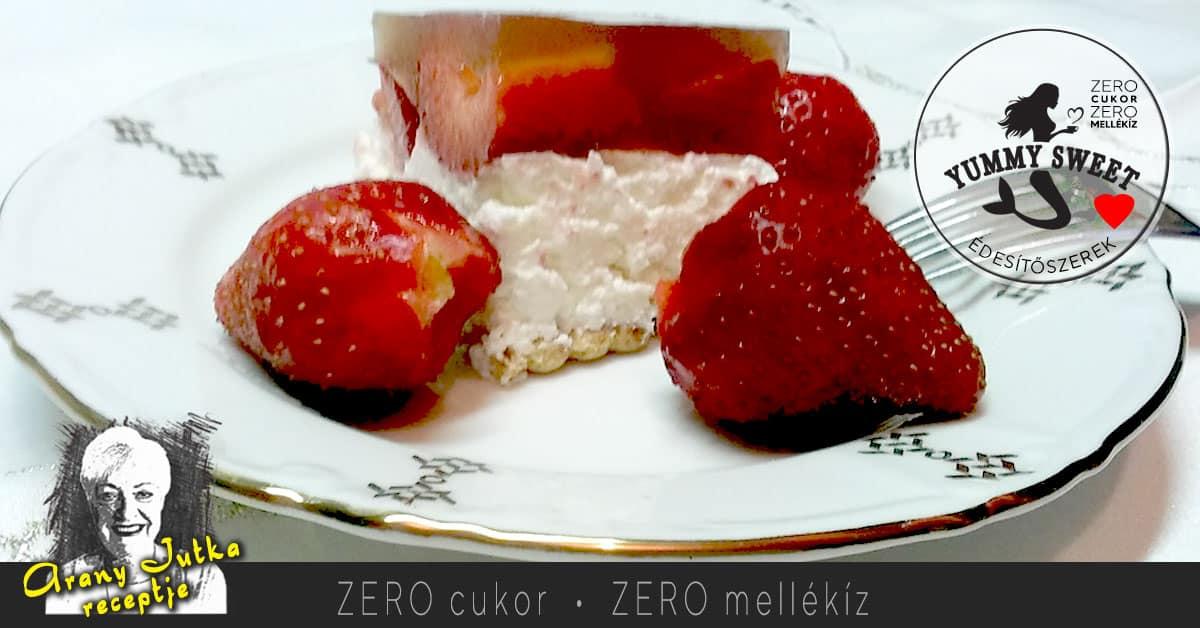 Epres túrótorta sütés nélkül – cukorbeteg, diétás, fogyókúrás sütemény recept édesítőszerrel 2021 03