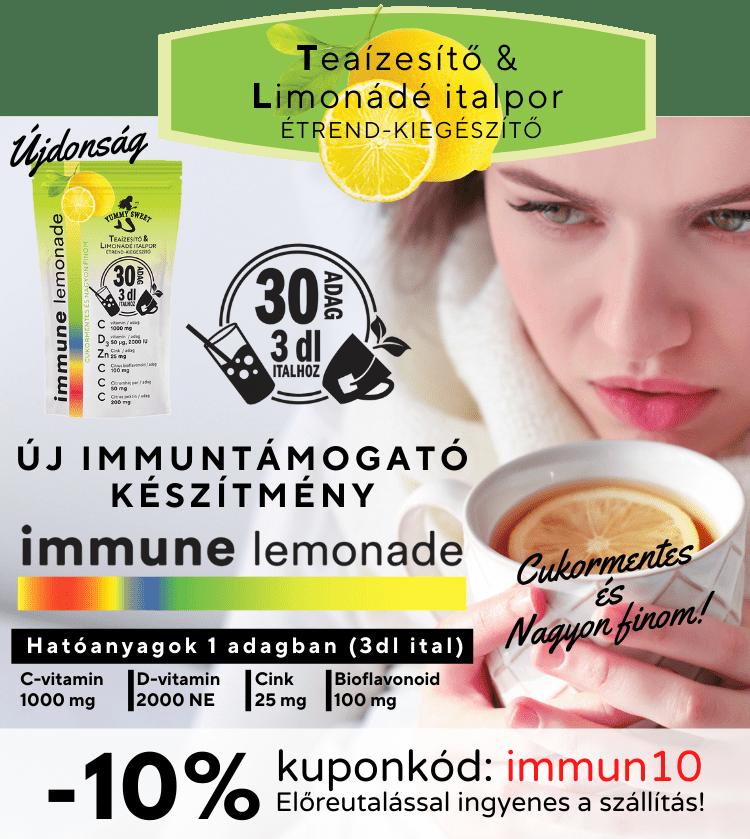 immune lemonade, immunrerősítő, d-vitamin, c-vitamin, cink, bioflavonoid, teaízesítő, limonádé