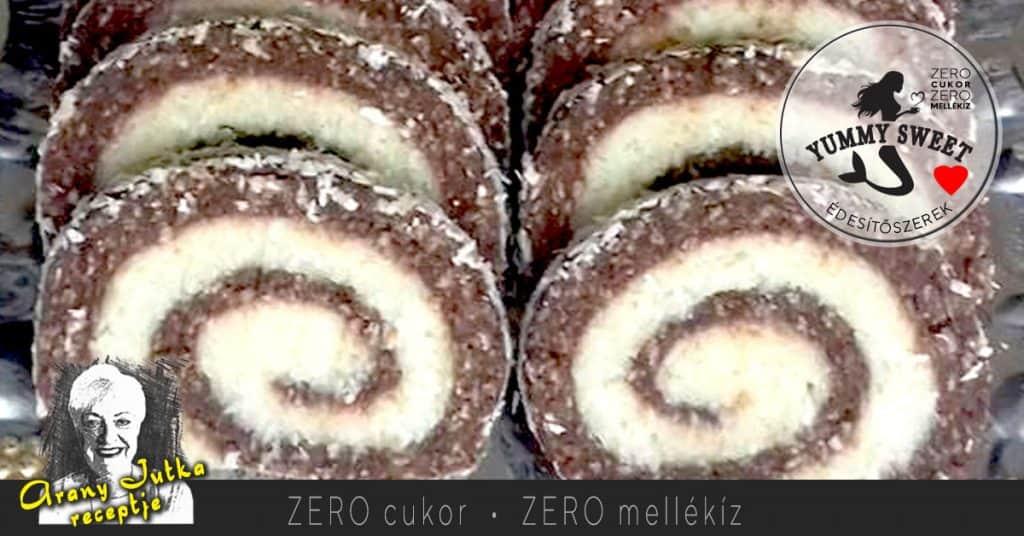 Vásári kókusztekercs- édesítőszeres, diétás, cukormentes sütemények, diétázóknak, fogyókrázóknak, cukorbetegeknek